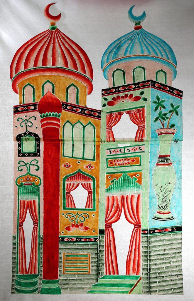 Palais de la Princesse Badroulboudour. Cuir découpé et coloré. H75 x L40. Collection du Théâtre de la Lanterne